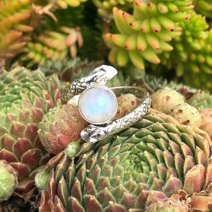 Moonstone two heads Snake Sterling Silver Ring 8.5